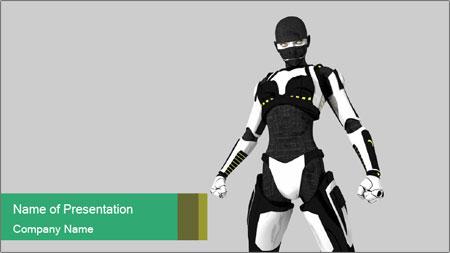 3D Female Robot Model PowerPoint Template