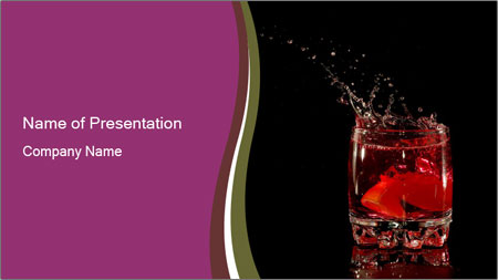 Martini Cocktail with Cherry PowerPoint Template