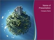 Green Planet with High Building PowerPoint Templates