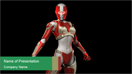 Female Robot PowerPoint Template