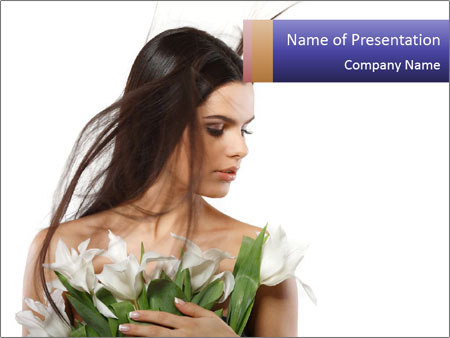 Bride with White Tulips PowerPoint Template