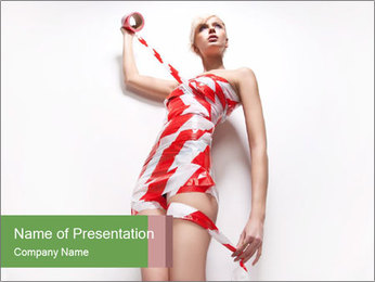 Woman Covered in Red and White Tape PowerPoint Template - Slide 1