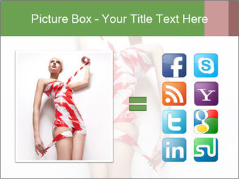 Woman Covered in Red and White Tape PowerPoint Template - Slide 21