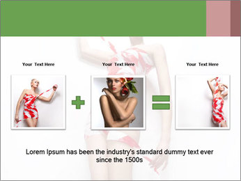 Woman Covered in Red and White Tape PowerPoint Template - Slide 22
