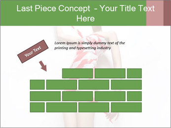 Woman Covered in Red and White Tape PowerPoint Template - Slide 46