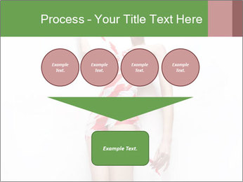 Woman Covered in Red and White Tape PowerPoint Template - Slide 93