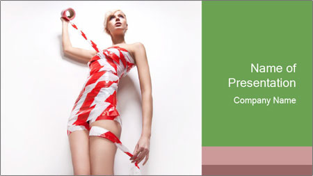 Woman Covered in Red and White Tape PowerPoint Template