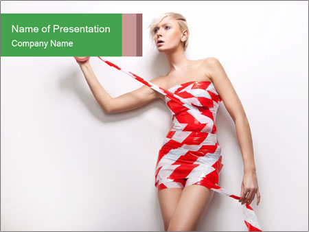 Woman Covered in Tape PowerPoint Templates