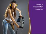 Sexy Woman Working with Drill PowerPoint Templates