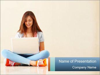 Schoolgirl Surfing Online PowerPoint Template - Slide 1