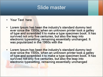 Schoolgirl Surfing Online PowerPoint Template - Slide 2