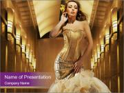 Woman Wearing Golden Dress PowerPoint Templates