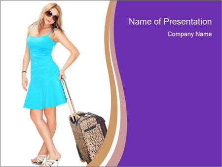 Woman with Travel Bag PowerPoint Templates