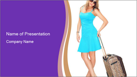 Woman with Travel Bag PowerPoint Template