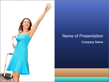 Travel Woman in Blue Dress PowerPoint Templates