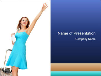 Travel Woman in Blue Dress PowerPoint Templates - Slide 1