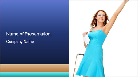 Travel Woman in Blue Dress PowerPoint Template