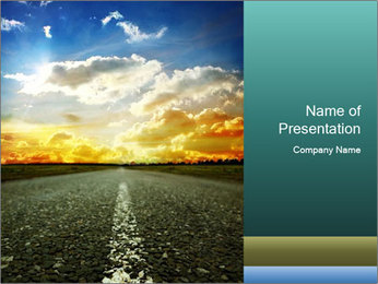 Asphalt Road and Beautiful Sky PowerPoint Template