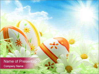 Easter Eggs and Camomiles PowerPoint Template - Slide 1