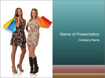 Two Happy Shopaholics PowerPoint Template - Slide 1