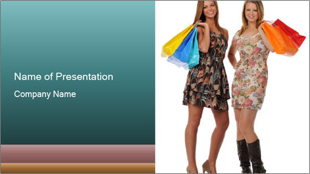 Two Happy Shopaholics PowerPoint Template