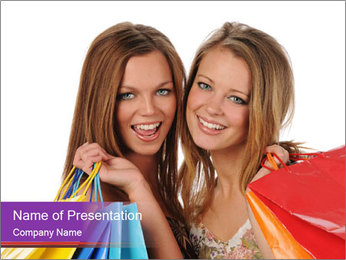 Two Friends Shopaholics PowerPoint Templates - Slide 1