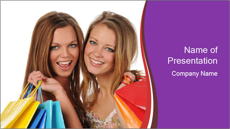 Two Friends Shopaholics PowerPoint Template