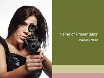 Woman Sniper PowerPoint Templates - Slide 1