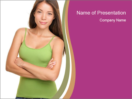 Young Woman in Green Top PowerPoint Templates