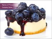 Cheese Cake with Blueberries PowerPoint Templates