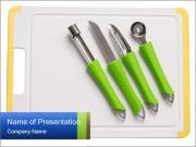 Green Kitchen Utensils PowerPoint Templates