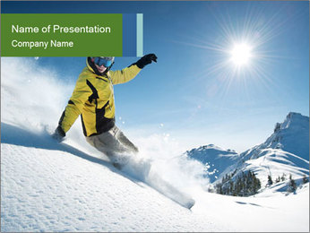 Snowboard Action PowerPoint Template - Slide 1