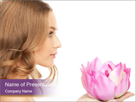 Woman Holding Pink Lotus PowerPoint Templates