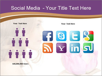 Woman Holding Pink Lotus PowerPoint Templates - Slide 5