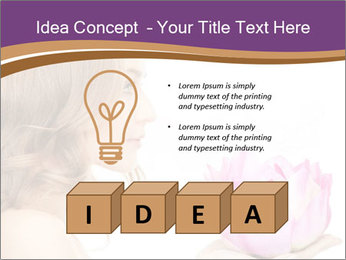 Woman Holding Pink Lotus PowerPoint Template - Slide 80