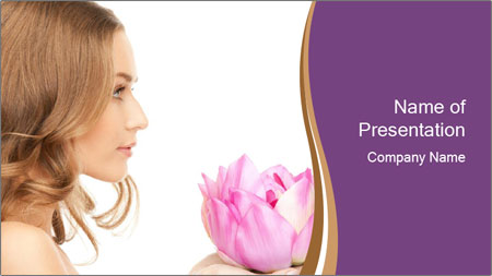 Woman Holding Pink Lotus PowerPoint Template