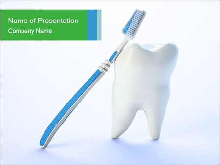 White Tooth and Brush PowerPoint Template