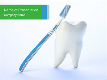 White Tooth and Brush PowerPoint Template - Slide 1