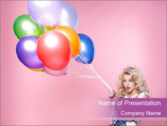 Birthday Woman with Balloons PowerPoint Template - Slide 1