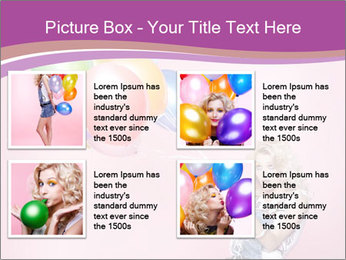 Birthday Woman with Balloons PowerPoint Template - Slide 14