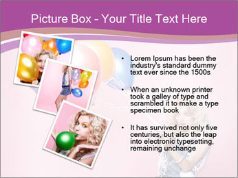Birthday Woman with Balloons PowerPoint Template - Slide 17