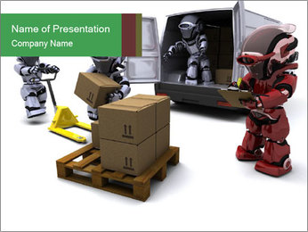 3D Robot Workers PowerPoint Templates - Slide 1