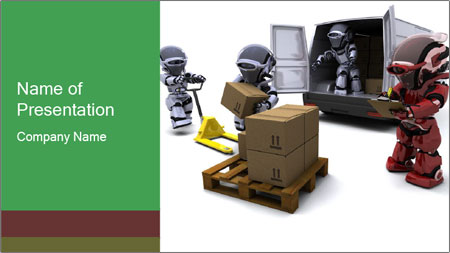 3D Robot Workers PowerPoint Template