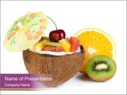 Coconut with Fruit Salad PowerPoint Templates