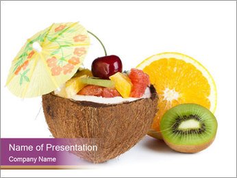 Coconut with Fruit Salad PowerPoint Template - Slide 1