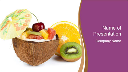 Coconut with Fruit Salad PowerPoint Template