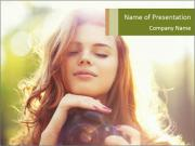 Pretty Girl in Summer Light PowerPoint Templates