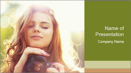 Pretty Girl in Summer Light PowerPoint Template