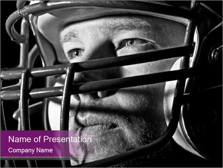 Football Player in Helmet PowerPoint Templates