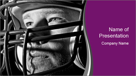 Football Player in Helmet PowerPoint Template
